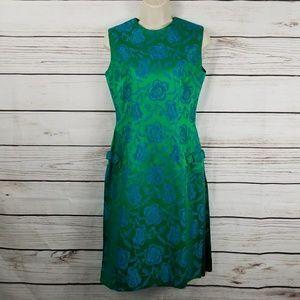 Vintage 50s 60s Shiny Rose Midi Dress